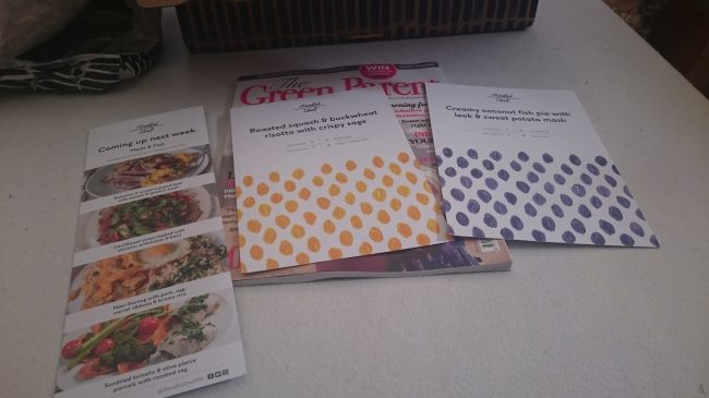 Free magazine, next week's menu and recipe cards
