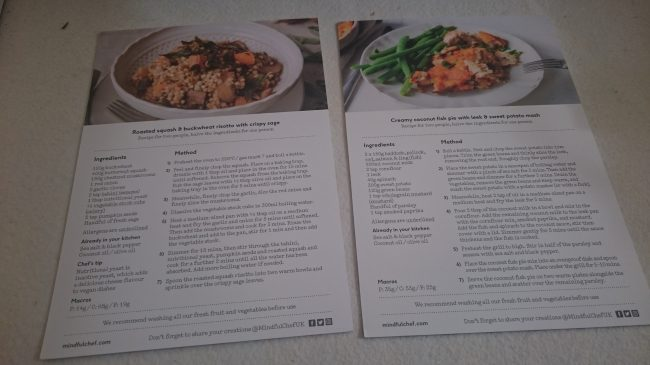 Recipe cards (reverse side)