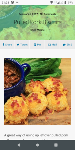 The header for a recipe in mobile mode