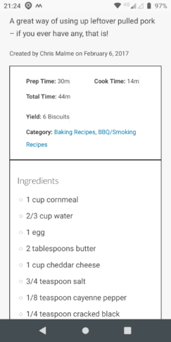 Ingredients in Mobile Mode