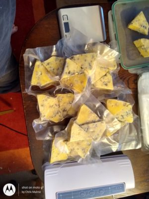 Packing cheese for the freezer